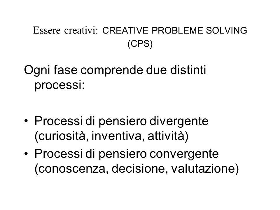 Essere creativi: CREATIVE PROBLEME SOLVING (CPS) Ogni fase comprende due distinti processi: Processi di pensiero divergente (curiosità, inventiva, attività) Processi di pensiero convergente (conoscenza, decisione, valutazione)