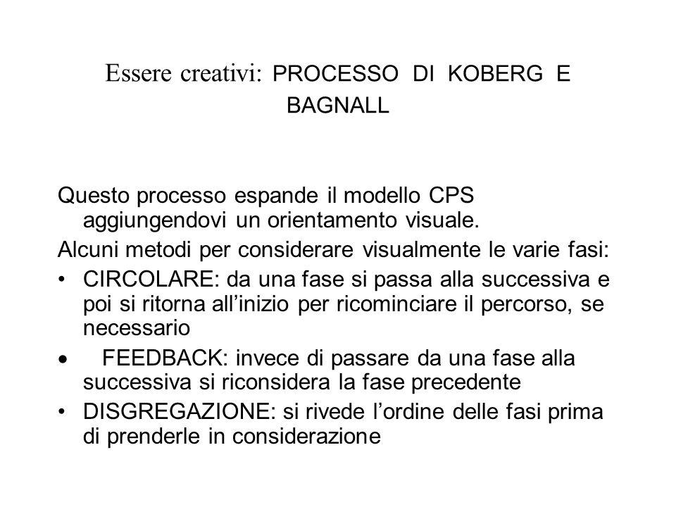 Essere creativi: PROCESSO DI KOBERG E BAGNALL Questo processo espande il modello CPS aggiungendovi un orientamento visuale. Alcuni metodi per consider