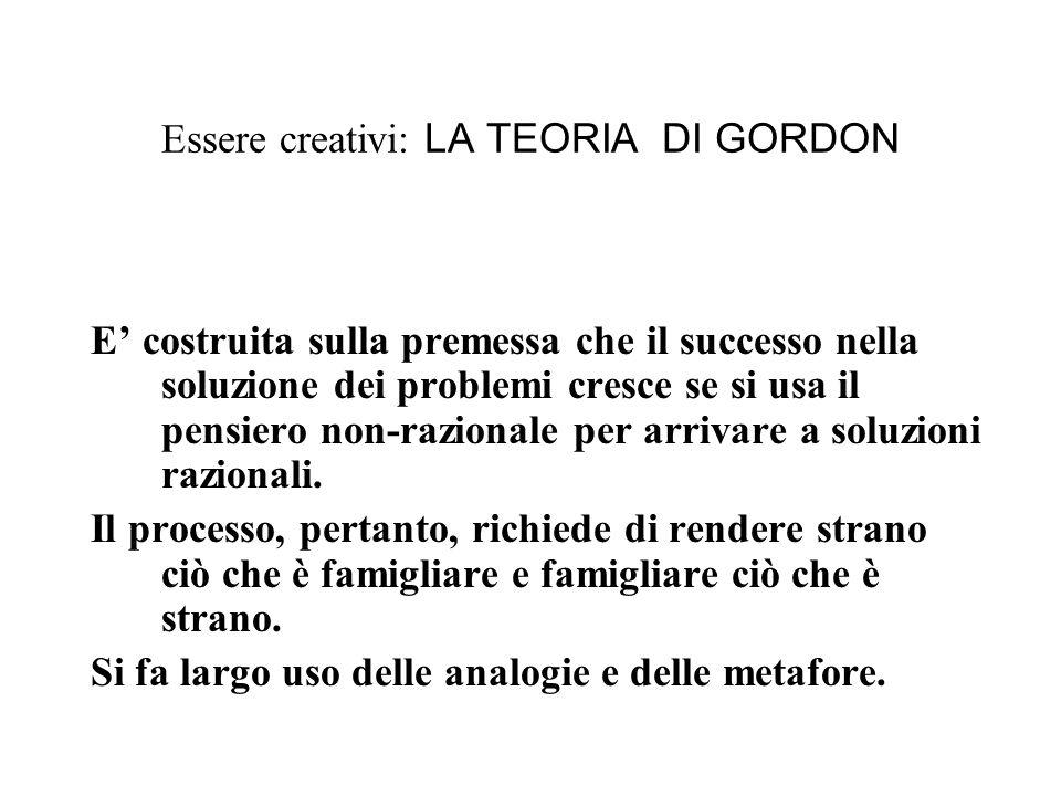 Essere creativi: LA TEORIA DI GORDON E costruita sulla premessa che il successo nella soluzione dei problemi cresce se si usa il pensiero non-razionale per arrivare a soluzioni razionali.