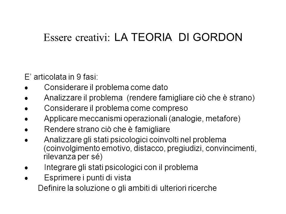Essere creativi: LA TEORIA DI GORDON E articolata in 9 fasi: Considerare il problema come dato Analizzare il problema (rendere famigliare ciò che è st