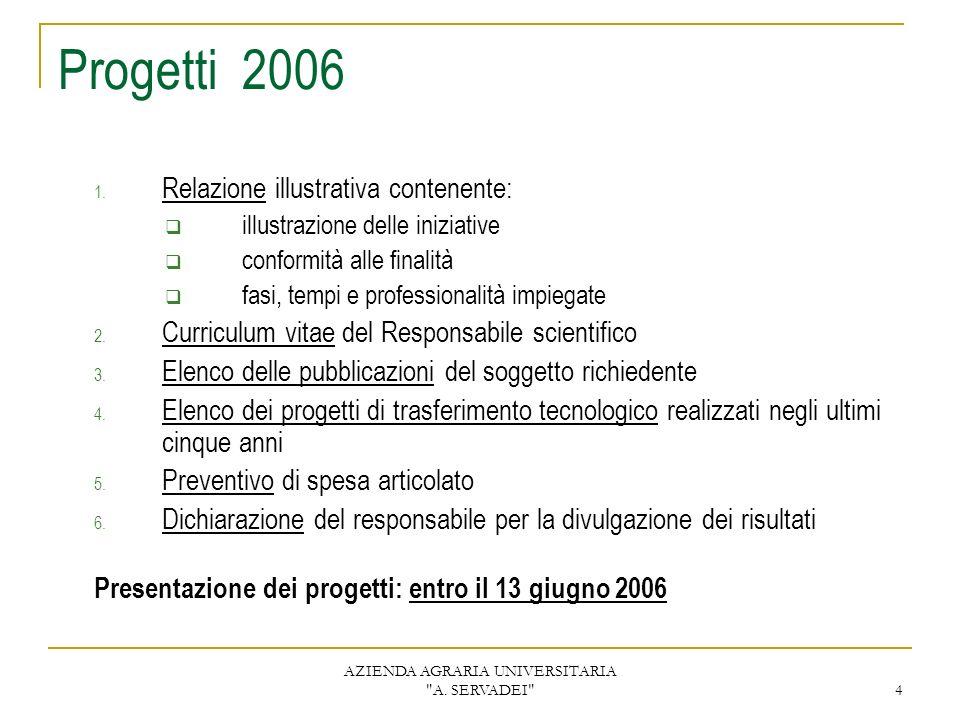 AZIENDA AGRARIA UNIVERSITARIA A. SERVADEI 4 Progetti 2006 1.