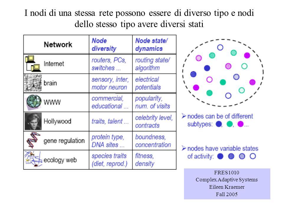 I nodi di una stessa rete possono essere di diverso tipo e nodi dello stesso tipo avere diversi stati FRES1010 Complex Adaptive Systems Eileen Kraemer
