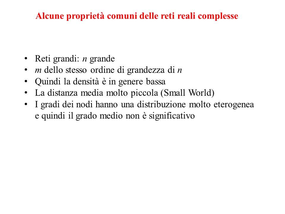 Alcune proprietà comuni delle reti reali complesse Reti grandi: n grande m dello stesso ordine di grandezza di n Quindi la densità è in genere bassa L