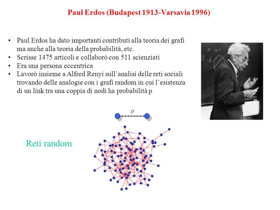 Paul Erdos (Budapest 1913-Varsavia 1996) Paul Erdos ha dato importanti contributi alla teoria dei grafi ma anche alla teoria della probabilità, etc.