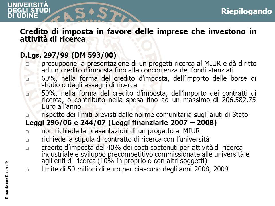 Riepilogando Credito di imposta in favore delle imprese che investono in attività di ricerca D.Lgs. 297/99 (DM 593/00) presuppone la presentazione di