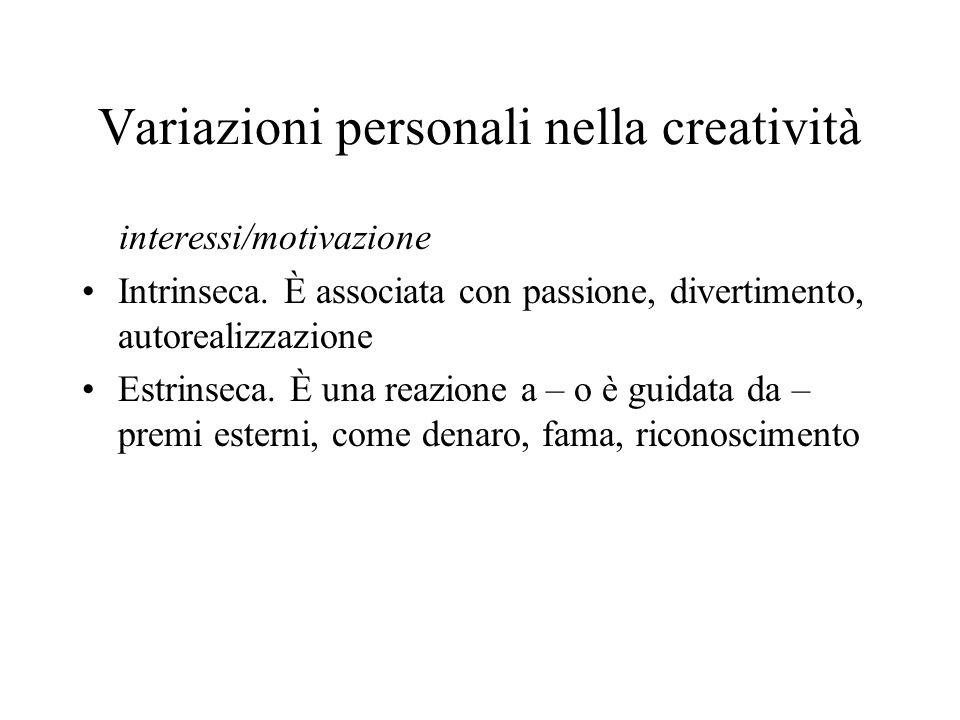 Variazioni personali nella creatività interessi/motivazione Intrinseca.