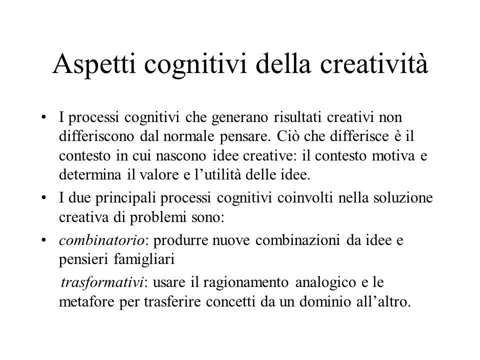 Aspetti cognitivi della creatività I processi cognitivi che generano risultati creativi non differiscono dal normale pensare.