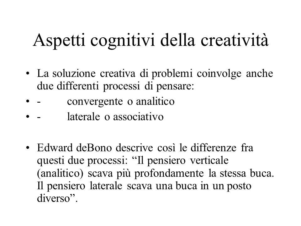 Aspetti cognitivi della creatività Mentre il pensiero convergente è il processo di critica che porta a trasformare le idee in prodotti utili, il pensiero laterale è fonte di nuove idee e di illuminazioni.