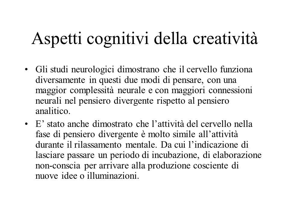 Aspetti cognitivi della creatività Gli studi neurologici dimostrano che il cervello funziona diversamente in questi due modi di pensare, con una maggior complessità neurale e con maggiori connessioni neurali nel pensiero divergente rispetto al pensiero analitico.