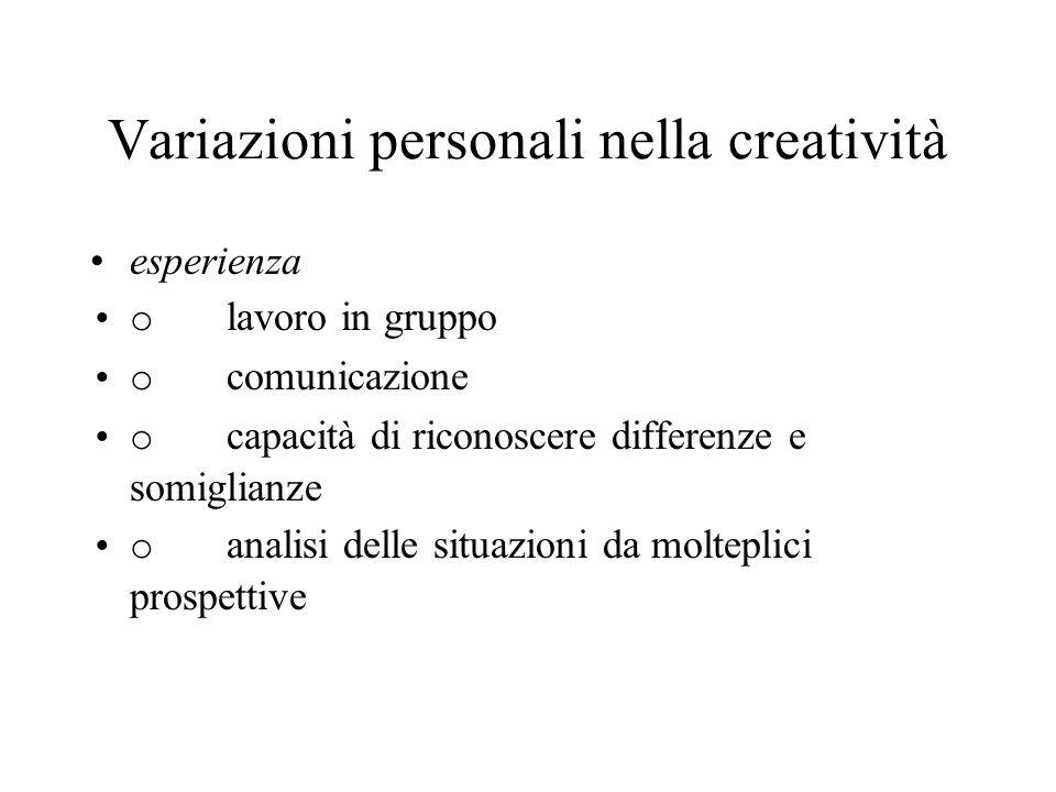 Variazioni personali nella creatività conoscenza è lelemento essenziale che distingue atti deliberati di creazione dalla creatività accidentale aiuta la generazione di idee sostiene la componente valutativa della creatività colloca lidea in un contesto e suggerisce perché è importante