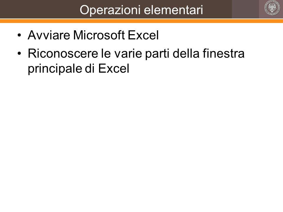 Operazioni elementari Avviare Microsoft Excel Riconoscere le varie parti della finestra principale di Excel