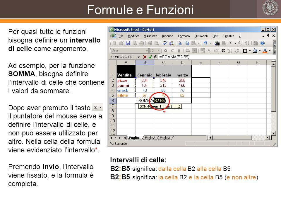 Formule e Funzioni Per quasi tutte le funzioni bisogna definire un intervallo di celle come argomento. Ad esempio, per la funzione SOMMA, bisogna defi