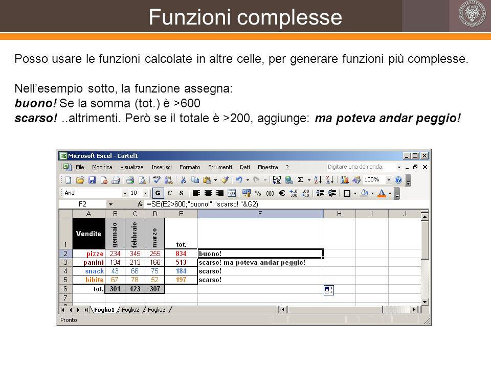 Funzioni complesse Posso usare le funzioni calcolate in altre celle, per generare funzioni più complesse. Nellesempio sotto, la funzione assegna: buon