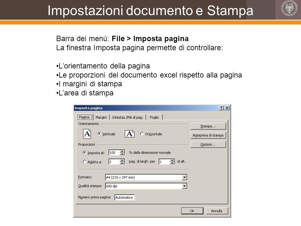 Impostazioni documento e Stampa Barra dei menù: File > Imposta pagina La finestra Imposta pagina permette di controllare: Lorientamento della pagina L