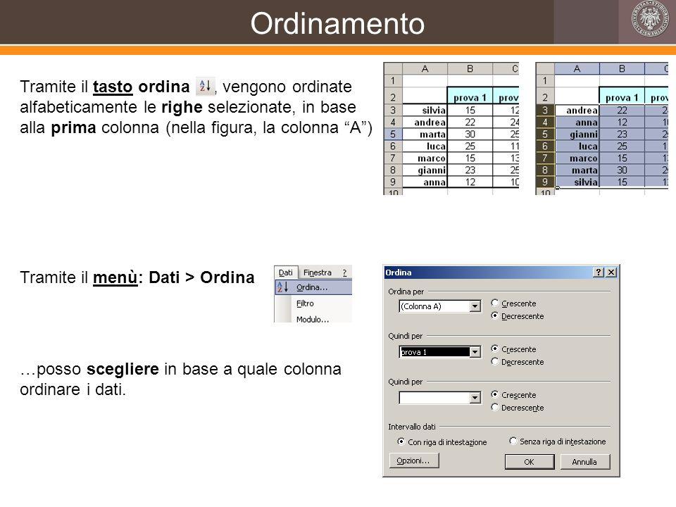 Ordinamento Tramite il tasto ordina, vengono ordinate alfabeticamente le righe selezionate, in base alla prima colonna (nella figura, la colonna A) Tr
