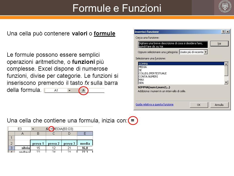 Formule e Funzioni Una cella può contenere valori o formule Le formule possono essere semplici operazioni aritmetiche, o funzioni più complesse. Excel