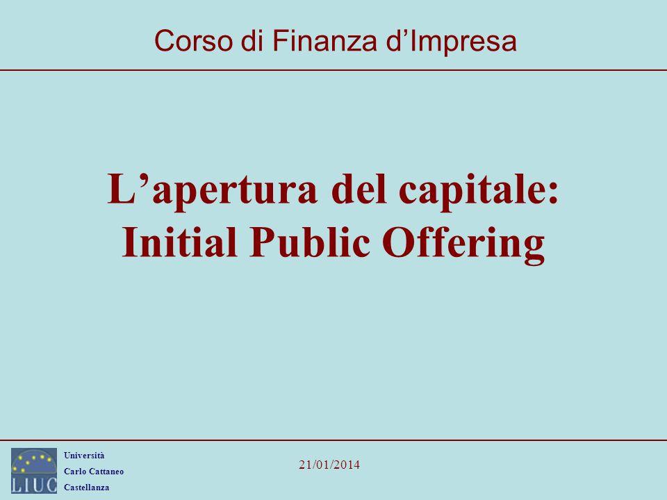 Università Carlo Cattaneo Castellanza 21/01/2014 32 Le tecniche di collocamento Il collocamento azionario può avvenire tramite: –OPV (offerta pubblica di vendita); –OPS (offerta pubblica di sottoscrizione); –OPVS (offerta pubblica di vendita e di sottoscrizione).