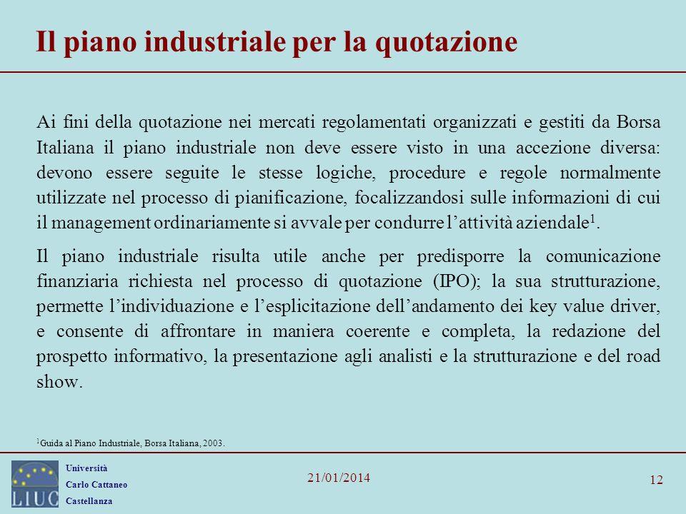 Università Carlo Cattaneo Castellanza 21/01/2014 12 Il piano industriale per la quotazione Ai fini della quotazione nei mercati regolamentati organizz