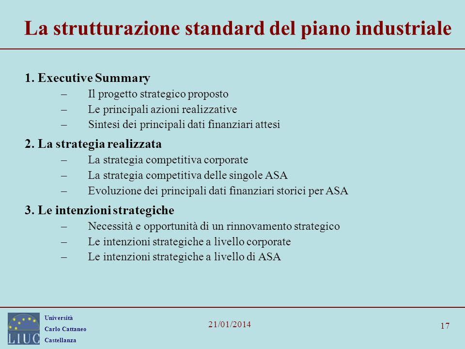 Università Carlo Cattaneo Castellanza 21/01/2014 17 La strutturazione standard del piano industriale 1. Executive Summary –Il progetto strategico prop