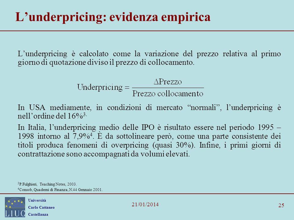 Università Carlo Cattaneo Castellanza 21/01/2014 25 Lunderpricing: evidenza empirica Lunderpricing è calcolato come la variazione del prezzo relativa