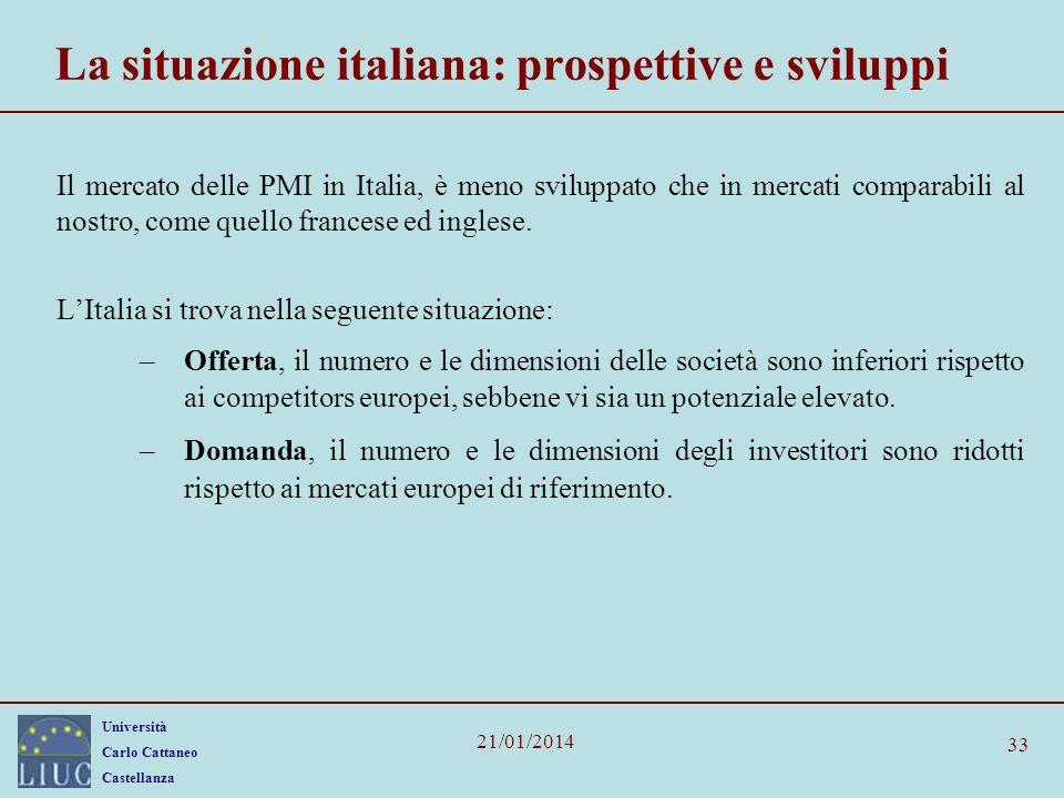 Università Carlo Cattaneo Castellanza 21/01/2014 33 La situazione italiana: prospettive e sviluppi Il mercato delle PMI in Italia, è meno sviluppato c