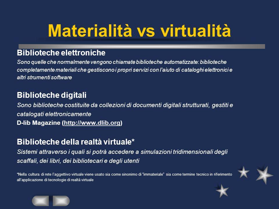 Materialità vs virtualità Biblioteche elettroniche Sono quelle che normalmente vengono chiamate biblioteche automatizzate: biblioteche completamente materiali che gestiscono i propri servizi con laiuto di cataloghi elettronici e altri strumenti software Biblioteche digitali Sono biblioteche costituite da collezioni di documenti digitali strutturati, gestiti e catalogati elettronicamente D-lib Magazine (http://www.dlib.org)http://www.dlib.org Biblioteche della realtà virtuale* Sistemi attraverso i quali si potrà accedere a simulazioni tridimensionali degli scaffali, dei libri, dei bibliotecari e degli utenti *Nella cultura di rete laggettivo virtuale viene usato sia come sinonimo di immateriale sia come termine tecnico in riferimento allapplicazione di tecnologie di realtà virtuale