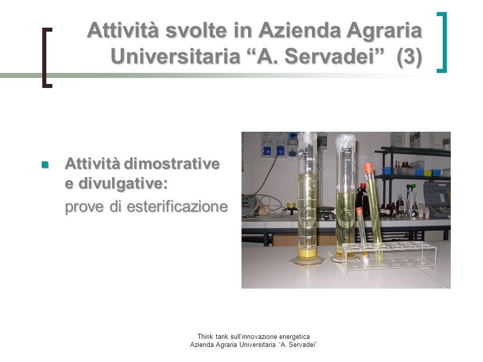 Think tank sull'innovazione energetica Azienda Agraria Universitaria A. Servadei Attività svolte in Azienda Agraria Universitaria A. Servadei (3) Atti