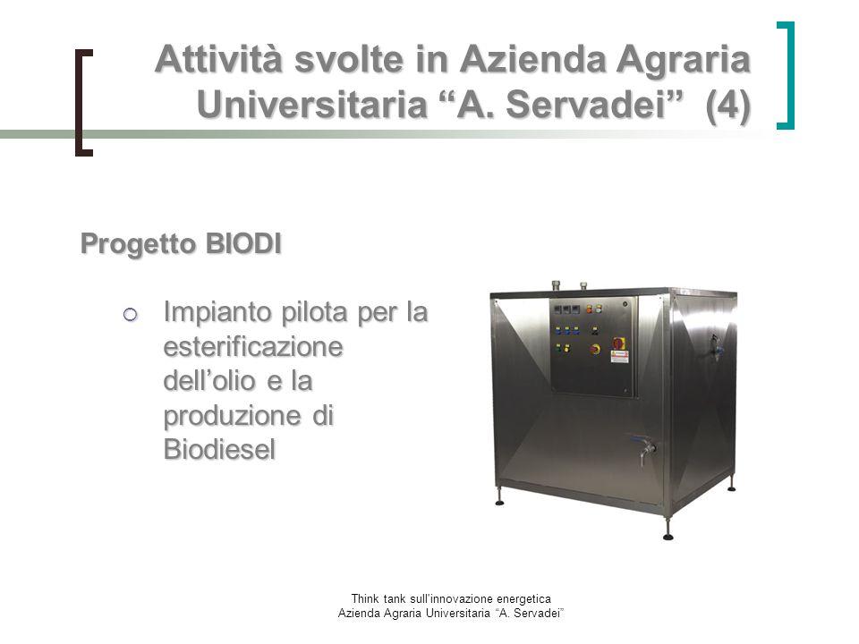 Think tank sull'innovazione energetica Azienda Agraria Universitaria A. Servadei Attività svolte in Azienda Agraria Universitaria A. Servadei (4) Prog