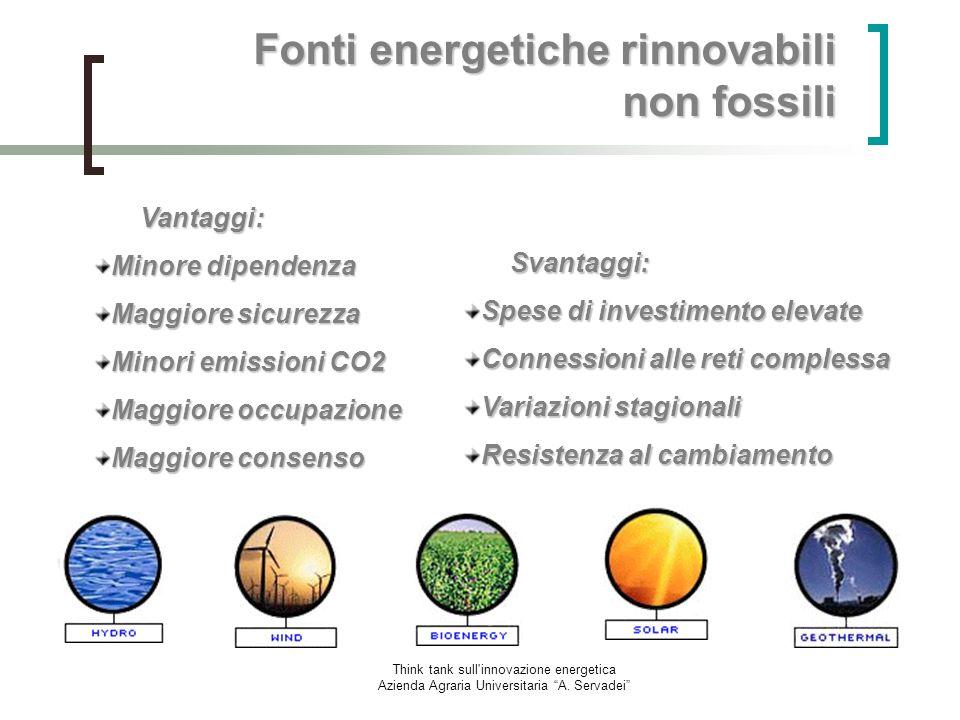 Think tank sull'innovazione energetica Azienda Agraria Universitaria A. Servadei Vantaggi: Minore dipendenza Maggiore sicurezza Minori emissioni CO2 M