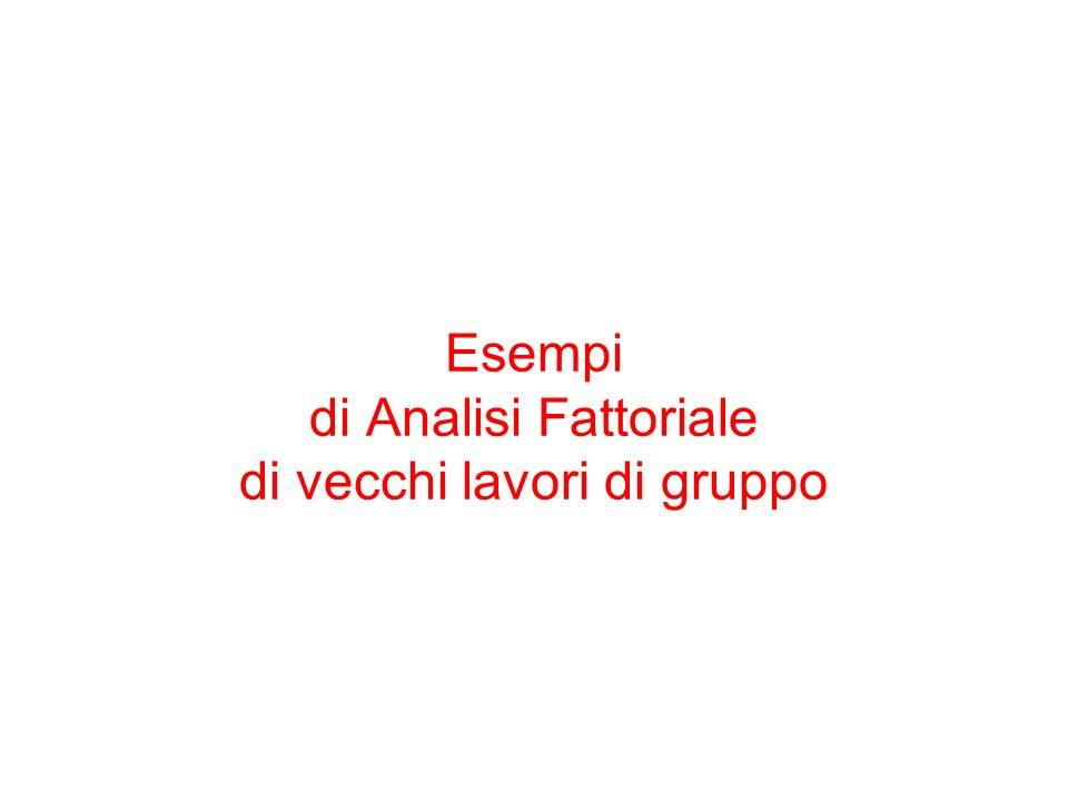 Esempi di Analisi Fattoriale di vecchi lavori di gruppo