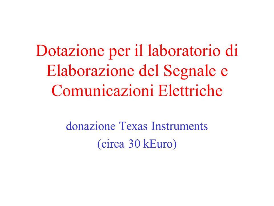 Dotazione per il laboratorio di Elaborazione del Segnale e Comunicazioni Elettriche donazione Texas Instruments (circa 30 kEuro)
