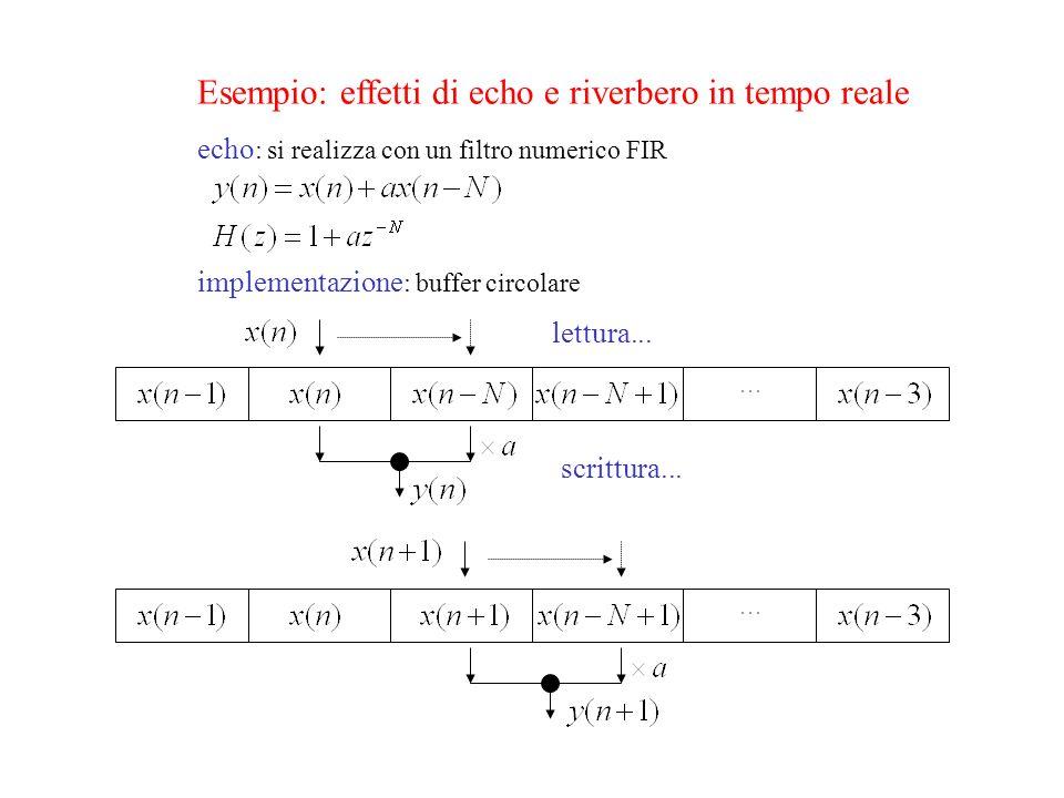 Esempio: effetti di echo e riverbero in tempo reale echo : si realizza con un filtro numerico FIR implementazione : buffer circolare lettura...