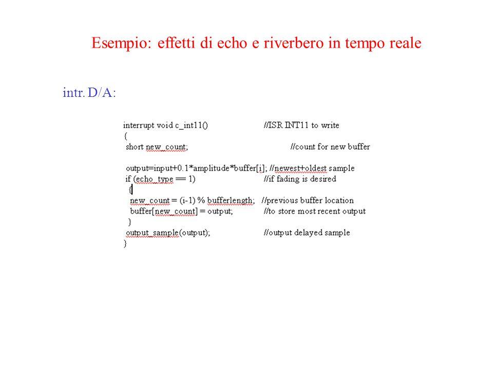 Esempio: effetti di echo e riverbero in tempo reale intr. D/A: