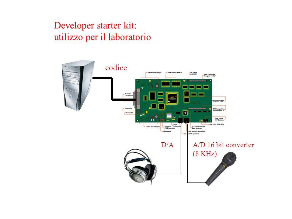 codice A/D 16 bit converter (8 KHz) D/A Developer starter kit: utilizzo per il laboratorio