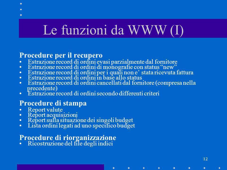 12 Le funzioni da WWW (I) Procedure per il recupero Estrazione record di ordini evasi parzialmente dal fornitore Estrazione record di ordini di monogr