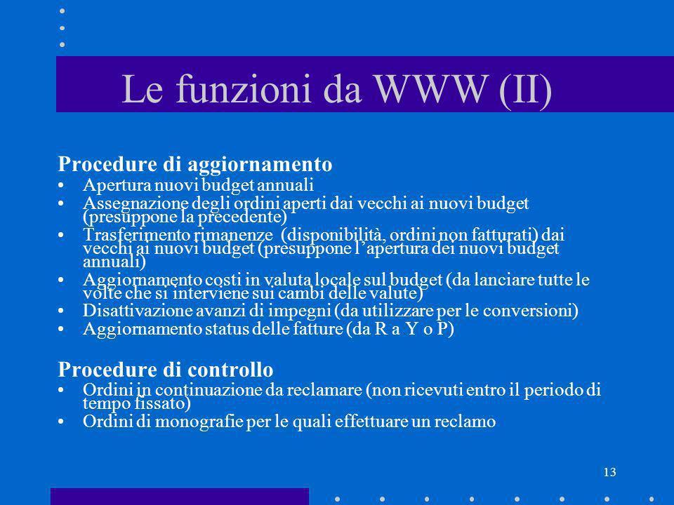 13 Le funzioni da WWW (II) Procedure di aggiornamento Apertura nuovi budget annuali Assegnazione degli ordini aperti dai vecchi ai nuovi budget (presu