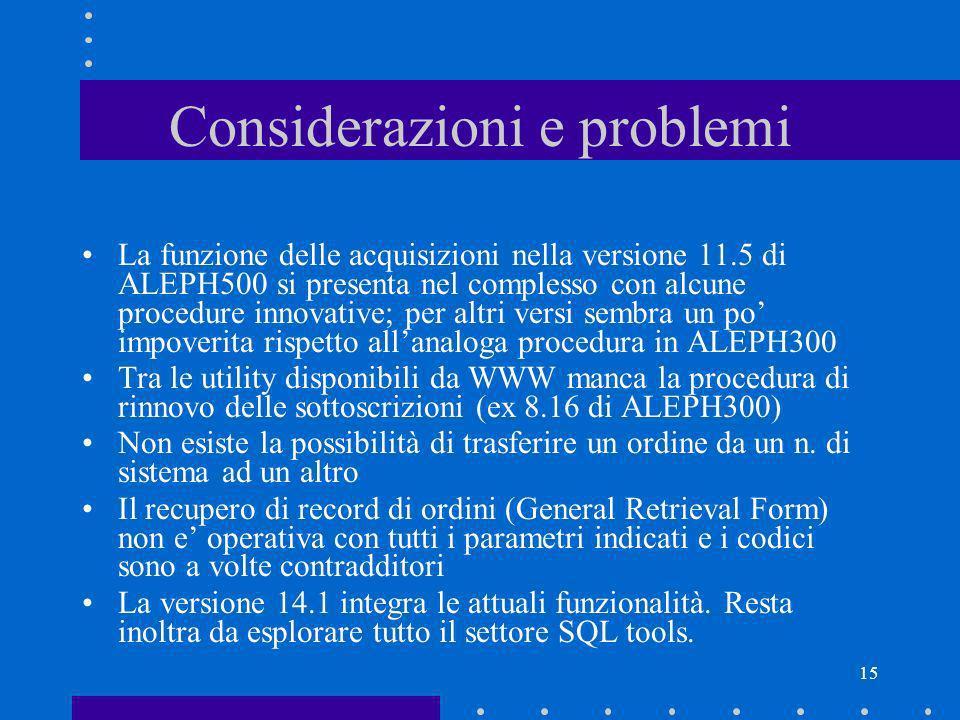 15 Considerazioni e problemi La funzione delle acquisizioni nella versione 11.5 di ALEPH500 si presenta nel complesso con alcune procedure innovative;