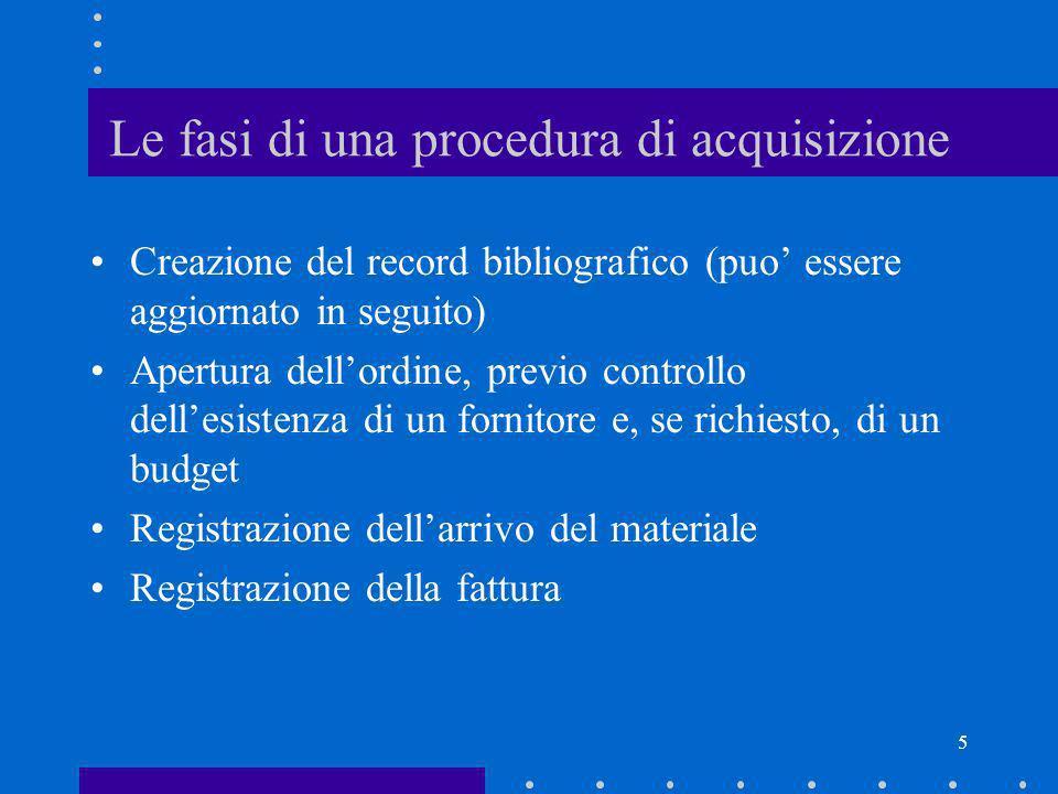 5 Le fasi di una procedura di acquisizione Creazione del record bibliografico (puo essere aggiornato in seguito) Apertura dellordine, previo controllo