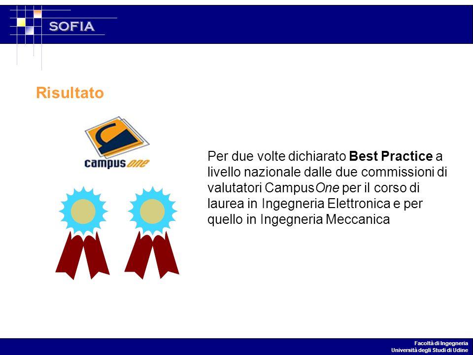 SOFIA Facoltà di Ingegneria Università degli Studi di Udine Per due volte dichiarato Best Practice a livello nazionale dalle due commissioni di valutatori CampusOne per il corso di laurea in Ingegneria Elettronica e per quello in Ingegneria Meccanica Risultato