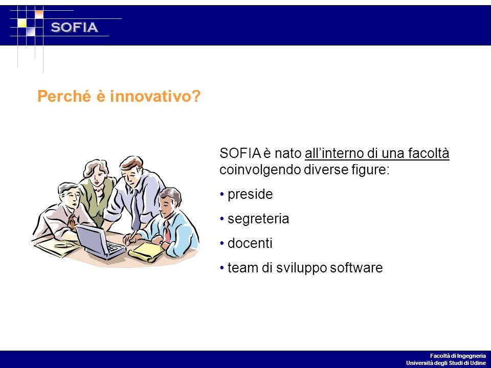 SOFIA Facoltà di Ingegneria Università degli Studi di Udine Perché è innovativo.