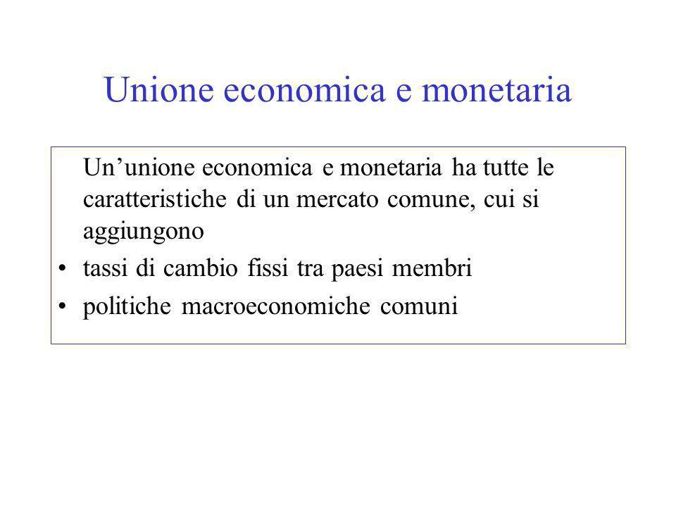 Unione economica e monetaria Ununione economica e monetaria ha tutte le caratteristiche di un mercato comune, cui si aggiungono tassi di cambio fissi tra paesi membri politiche macroeconomiche comuni