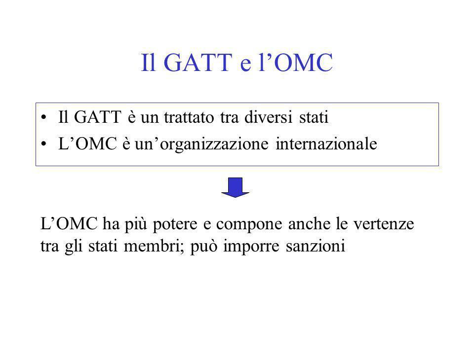 Il GATT e lOMC Il GATT è un trattato tra diversi stati LOMC è unorganizzazione internazionale LOMC ha più potere e compone anche le vertenze tra gli stati membri; può imporre sanzioni