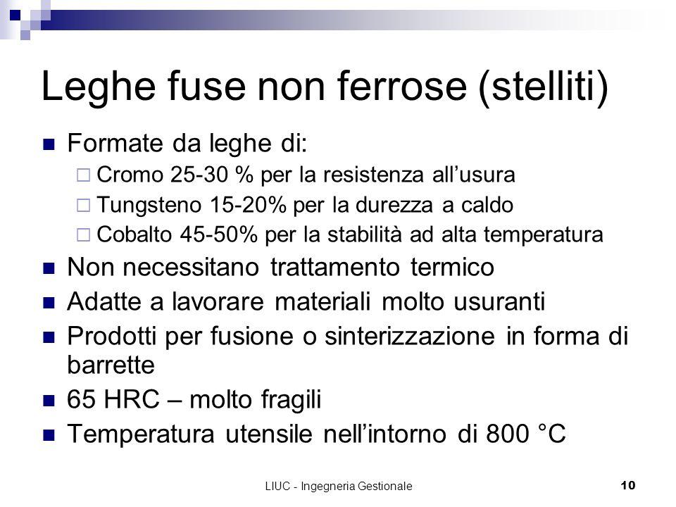 LIUC - Ingegneria Gestionale10 Leghe fuse non ferrose (stelliti) Formate da leghe di: Cromo 25-30 % per la resistenza allusura Tungsteno 15-20% per la