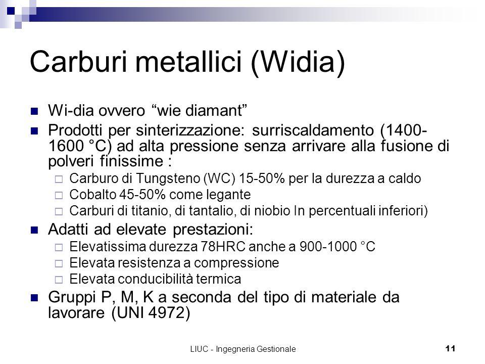 LIUC - Ingegneria Gestionale11 Carburi metallici (Widia) Wi-dia ovvero wie diamant Prodotti per sinterizzazione: surriscaldamento (1400- 1600 °C) ad alta pressione senza arrivare alla fusione di polveri finissime : Carburo di Tungsteno (WC) 15-50% per la durezza a caldo Cobalto 45-50% come legante Carburi di titanio, di tantalio, di niobio In percentuali inferiori) Adatti ad elevate prestazioni: Elevatissima durezza 78HRC anche a 900-1000 °C Elevata resistenza a compressione Elevata conducibilità termica Gruppi P, M, K a seconda del tipo di materiale da lavorare (UNI 4972)