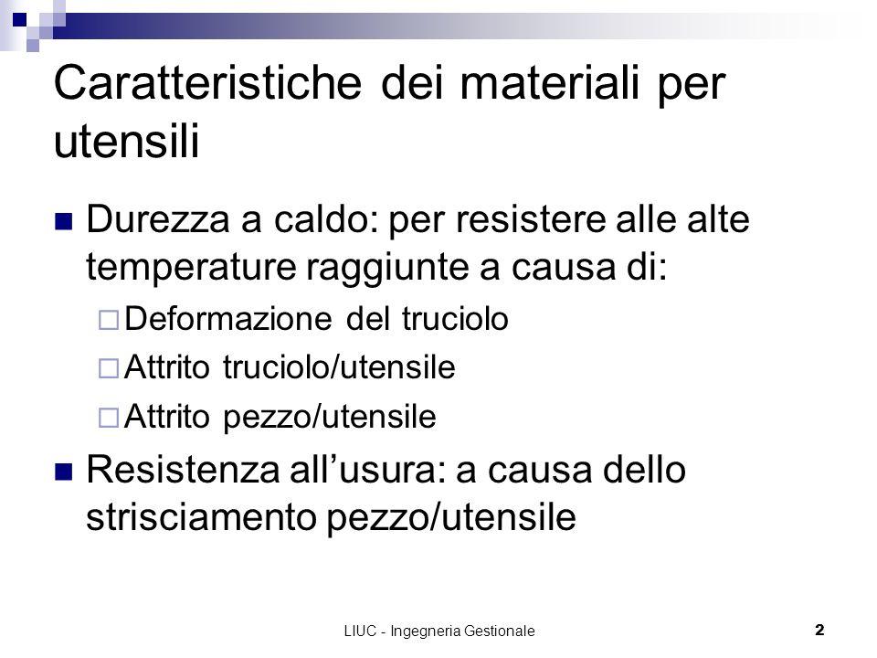 LIUC - Ingegneria Gestionale2 Caratteristiche dei materiali per utensili Durezza a caldo: per resistere alle alte temperature raggiunte a causa di: De