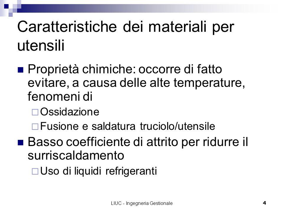 LIUC - Ingegneria Gestionale4 Caratteristiche dei materiali per utensili Proprietà chimiche: occorre di fatto evitare, a causa delle alte temperature,