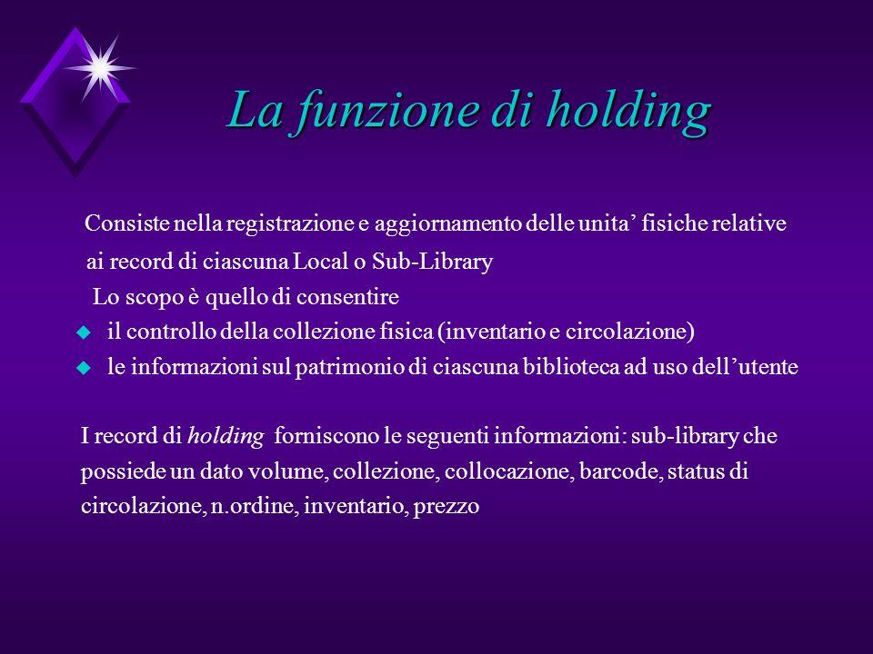 La funzione di holding Consiste nella registrazione e aggiornamento delle unita fisiche relative ai record di ciascuna Local o Sub-Library Lo scopo è