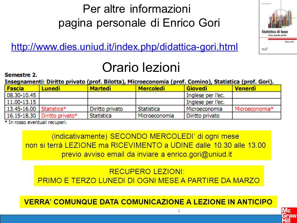 3 Per altre informazioni pagina personale di Enrico Gori http://www.dies.uniud.it/index.php/didattica-gori.html Orario lezioni (indicativamente) SECON