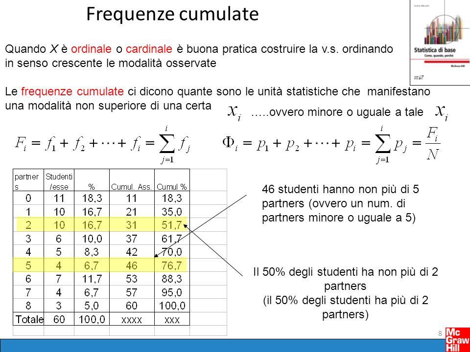 Frequenze cumulate 8 Quando X è ordinale o cardinale è buona pratica costruire la v.s.