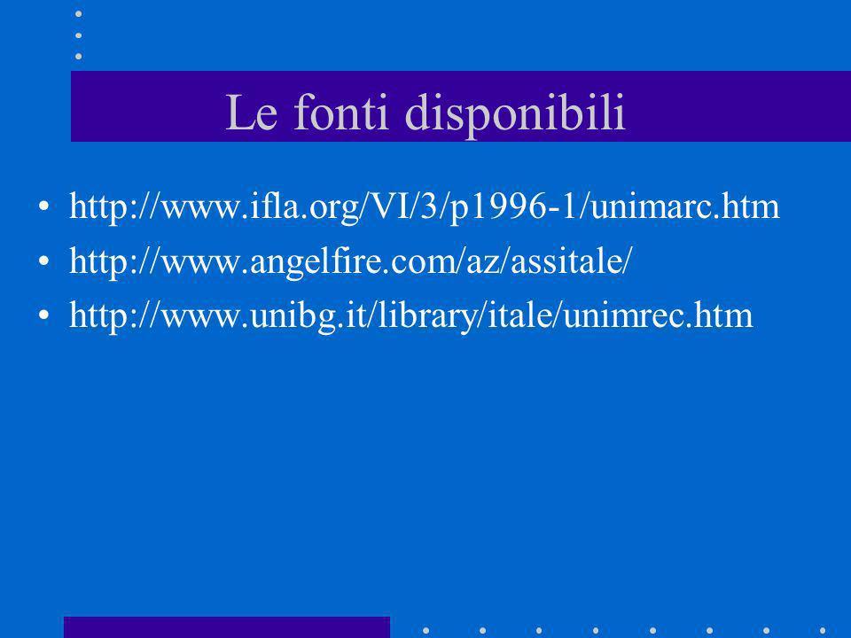 Le fonti disponibili http://www.ifla.org/VI/3/p1996-1/unimarc.htm http://www.angelfire.com/az/assitale/ http://www.unibg.it/library/itale/unimrec.htm